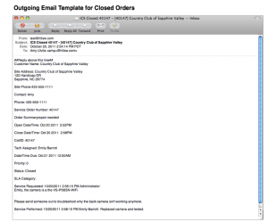 SME Outgoing Email Template for Closed Orders